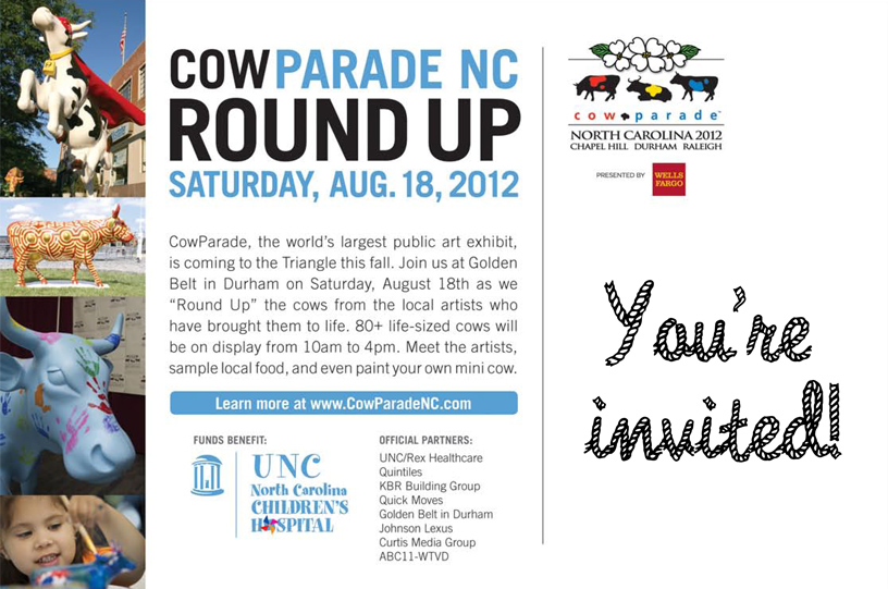 cow parade nc invitation back